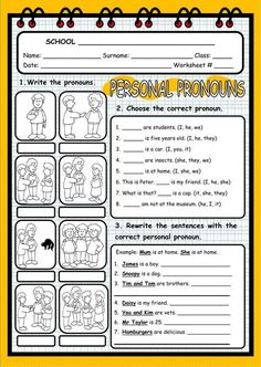 Personal pronouns interactive and downloadable worksheet. Check your answers online or send them to your teacher.