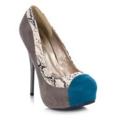@Overstock - These sleek, color- and texture-blocked pumps by Quipid feature a grey faux suede upper trimmed with snake-textured trim and a bright blue snubbed toe. A 4.75-inch stiletto heel and 1-inch platform add great lift to these stylish pumps.http://www.overstock.com/Clothing-Shoes/Qupid-Womens-Neutral-99-Grey-Color-block-Pumps/6731735/product.html?CID=214117 $34.99