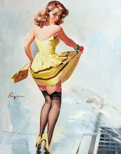 """Dampened Doll"" by Gil Elvgren, 1967"