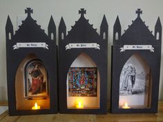 Some of my readers have asked me to draw a template for the All Hallow's Eve martyred saint shrines I created last year. I quickly put this...