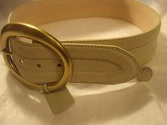 Vintage Off White Genuine Suede Leather Bronze Buckle Belt | Jenstardesigns - Accessories on ArtFire