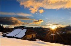 Early morning in the village Dzembronya. Dawn in the Carpathian Mountains