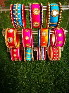 Items similar to Indian style silk thread bangles on Etsy Silk Thread Bangles Design, Silk Thread Necklace, Silk Bangles, Beaded Necklace Patterns, Thread Jewellery, Diy Jewellery, Diy Embroidery Thread, Hand Embroidery, Indian Wedding Favors