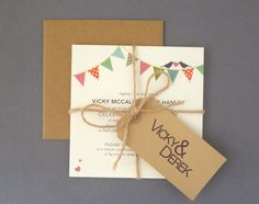 Cotton Post wedding invitation bunting design vintage feel tied with string luggage tag