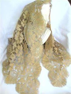 Vintage Beige Black Net Lace Mantilla Chapel Veil Scarf Shawl Victorian 1P Mint | eBay