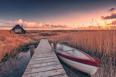 Fischerhafen (Nymindegab), Boot, Dänemark, Hafen, Küste, Nordsee, Schilf, Sonnenuntergang, Jütland