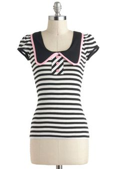Carhop to It Top - Multi, Pink, Black, White, Stripes, Buttons, Cap Sleeves, Jersey, Mid-length, Casual, Rockabilly, Vintage Inspired, Summer
