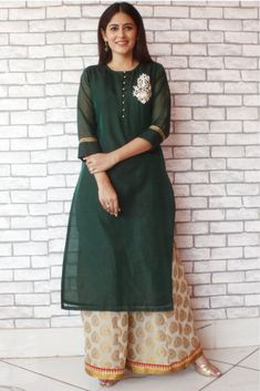 Bottle Green Embroidered Kurti with Banarsi Palazzos