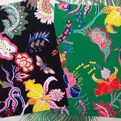 'Indiennes Jungle' will be available on our website soon as cushions and home wear products! Exotic tropicals and jungle creatures inspired by antique Indiennes textiles. #designboxcreative