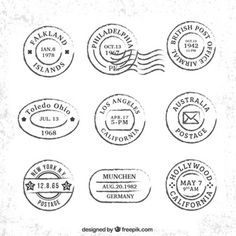Collection of travel vintage postages Premium Vector Travel Stamp, Cut Out People, Shabby, Vintage Stamps, May 7th, High Quality Images, Vector Free, Badges, Folk