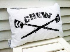 Collegiate CREW Pillow block printed on white by Seagate8Studio, $25.00
