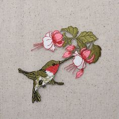 Iron on Embroidered Applique Patch Ruby Red Throat Hummingbird Flowers for sale online Embroidery Applique, Cross Stitch Embroidery, Embroidery Patterns, Machine Embroidery, Flowers For Sale, Pink Flowers, Hummingbird Flowers, Craft Projects For Kids, Iron On Applique