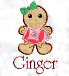 Ginger Girl Applique - 6 Sizes! | Christmas | Machine Embroidery Designs | SWAKembroidery.com Embroitique
