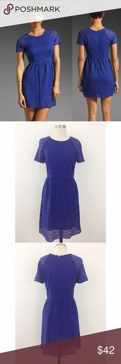 Candy Woven Lace Dress in Electric Cobalt Shadow-striped floral lace lends a ladylike feel to this vintage-inspired, fit-and-flare dress. Gentle ruching adds soft volume to the skirt, while scalloped lace trims the short raglan sleeves and hem. Hidden back zip. Tonal lining. EUC!  Fabric: Lace. Shell: 70% cotton/30% nylon. Lining: 100% rayon. Wash cold. Imported.  MEASUREMENTS Length: 33in / 84cm, from shoulder Free People Dresses Mini