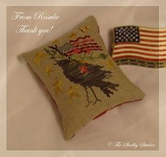 Patriotic cross stitch pin pillow