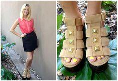 ♥ LOOK OF THE DAY 05-12-2012 ♥  ♥ Camisa de Gasa con Botones Dorados  ♥ Mini Plizada  ♥ Camel Calu High Heels