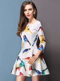 Buy hot selling fashion womens elegant fresh bird floral print slim  sleeve sleeveless summer dress from newdress abe75dc66