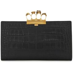 Alexander McQueen Black Crocodile-effect Leather Clutch (51 435 UAH) ❤ liked on Polyvore featuring bags, handbags, clutches, real leather purses, skull clutches, crocodile leather handbags, top handle leather handbags and leather purses