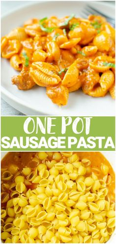 One Pot Creamy Shells and Sausage - kid-friendly dinner that will be ready in about 30 minutes. Pasta shells and Italian sausage in a creamy pasta sauce with Parmesan cheese. Quick and easy comfort food!