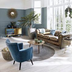 Buffet vintage en manguier bleu L 127 cm | Maisons du Monde