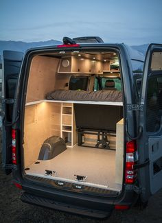Back seat right by bed Van Conversion Campervan, Van Conversion Layout, Cargo Van Conversion, Van Conversion Interior, Sprinter Van Conversion, Sprinter Camper, Kangoo Camper, Car Camper, Station Wagon