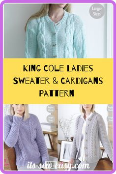 These King Cole ladies sweaters and cardigan knitting patterns are not only about something practical and something you will be happy about but also proving that it's possible to make elegant, wearable and fashionable cardigans right at the comfort of your home. The knitting patterns feature cardigans that come in different colors and different finishes. The patterns cover a variety of sizes including larger sizes. #cardiganpatterns#sweaterpatterns#knittedsweaterpattern#easesweaterpatterns Jumper Patterns, Cardigan Pattern, Knitting Patterns, Wrap Cardigan, Sweater Cardigan, Men Sweater, Ladies Sweaters, The Cardigans, King Cole