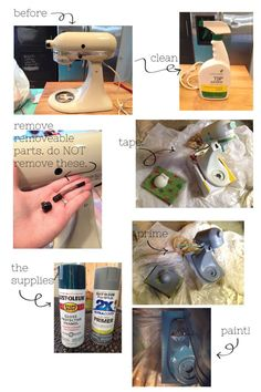 How to spray paint a Kitchen Aid. See additional pin on how to apply decorative decals. (www.ChefBrandy.com)