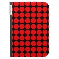 Pattern: Black Background with Red Circles Kindle 3G Cases