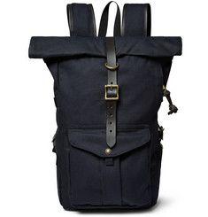 FilsonLeather-Trimmed Twill Backpack