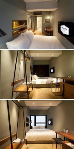 habitaciones de hotel 8 Small Hotel Rooms That Maximize Their Tiny Space Hotel Room Design, Small Room Design, Design Bedroom, Bedroom Ideas, Tiny Spaces, Small Rooms, Small Room Interior, Boutique Hotel Room, Boutique Hotels