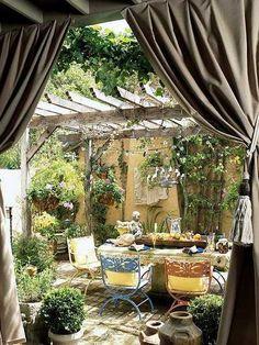 rideaux extérieurs pour porche décoration