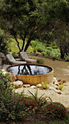 """The """"spool"""": Smaller than a swimming pool but larger than a jacuzzi. Made from a converted galvanized horse tank. In Santa Barbara, California Outdoor Spaces, Outdoor Living, Outdoor Tub, Outdoor Bathrooms, Outdoor Decor, Outdoor Fire, Stock Tank Pool, Small Pools, Backyard Landscaping"""