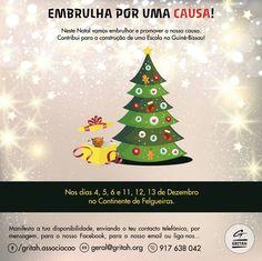 """""""Embrulha por uma Causa!"""", cartaz construído no âmbito de mais uma iniciativa da Associação GRITAH. My World, Christmas Ornaments, Holiday Decor, Home Decor, Wraps, December, Poster, Messages, Decoration Home"""