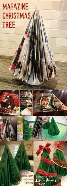 I made this with a Reader's Digest in Christmas crafts for kids: Up-Cycle old magazines with this Magazine Christmas tree craft! Diy Christmas Tree, Christmas Projects, Winter Christmas, All Things Christmas, Christmas Holidays, Christmas Decorations, Christmas Ornaments, Origami Christmas, Tree Decorations