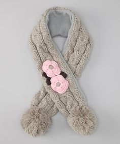 Gray & Pink Flower Cable-Knit Scarf      Marili Jean