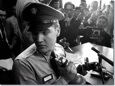 This is another photo gem by freelance photographer Alfred Wertheimer. Private Elvis Presley photographed at his press conference at Brooklyn Army Terminal in New York City on Monday, 22 September 1958, shortly before his departure for Germany aboard the troop transport USS General George M. Randall. Listen to the press conference: https://www.youtube.com/watch?v=VhwpCbp5PbQ