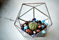 Designed, cut, assembled and crafted by hand from scratch, Small Size Icosahedron Stained Glass Terrarium is the cool guy in the family!  Best