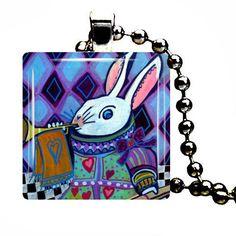 Alice in Wonderland Art White Rabbit Pendant Necklace Dog Tag Jewelry Christmas
