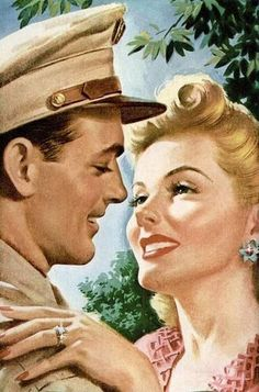Romance Illustrations WWII shared by IdoDeclare Pin Ups Vintage, Vintage Love, Vintage Ads, Vintage Images, Vintage Style, Vintage Magazines, Romance Art, Vintage Romance, Mode Pin Up