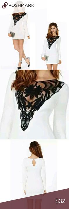 Sexy White Dress With Lace Cutout Sexy White Dress With Plunging V Lace Cutout.   Approximate Measurements: (has stretch) Laying Flat Armpit to Armpit: 16 inches Length: 30 inches  This is NWOT Retail. Price Firm Unless Bundled. Dresses Mini