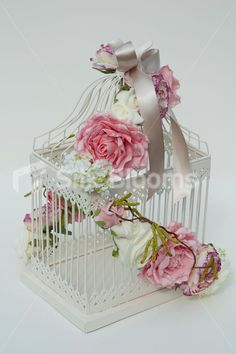 Ivory Pink Rose Classic Vintage Bird Cage Wedding Table Display