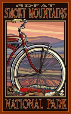 definite!!!!.........Great Smoky Mountains National Park / Red Bike Tire Poster • PAL-2715 | The Parks Company Advertising Poster, Poster Ads, Poster Prints, Bike Poster, Art Print, Art Vintage, Vintage Ads, Vintage Style, Vintage Ephemera