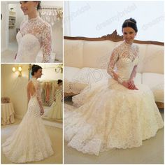 love love love!!  Free shipping Vestidos de noiva High neck mermaid wedding dress vintage lace long sleeve Backless 2013 New Design WD1302 $329.99
