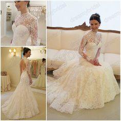 love love love!!  Free shipping Vestidos de noiva High neck mermaid wedding dress vintage lace long sleeve Backless 2013 New Design WD1302 $329.99