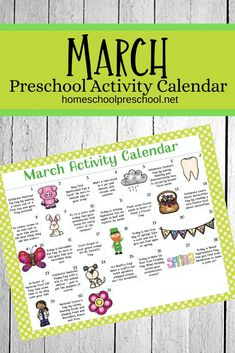 Here's a fun March activity calendar for preschoolers! Celebrate holidays and special days with books, printables, and hands-on activities. #activitycalendarforkids #preschoolactivities #preschoolactivitiesprintable #homeschoolprek