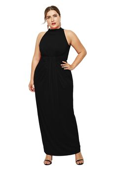47edf392d High Neck Sleeveless Black Jersey Sheath Spring Fall Plus Size Woman  Clothing Maxi Casual Dress