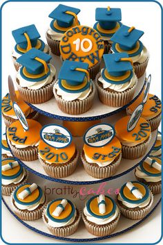 Cute idea for Baylor graduation — Instead of a graduation cake, try graduation cupcakes!