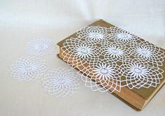 White Crochet Doily set of 4, tabletop decor, lace centerpiece, Vintage Doily, cottage chic