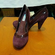 Burgundy suede leather and patent PU trim pumps Gorgeous deep purple/burgundy pumps with a unique heel. A very solid shoe with a touch of class! These have never been worn. NWOT. Steve Madden Shoes Heels