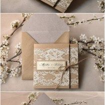 Pocket Fold Rustic Recycling Paper Lace Wedding Invites Kits